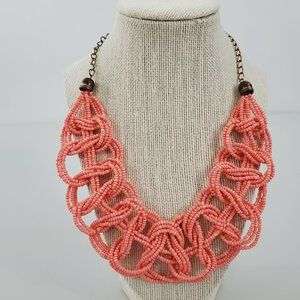 Pink Beaded Braided Necklace Gold Tone Chain Weave
